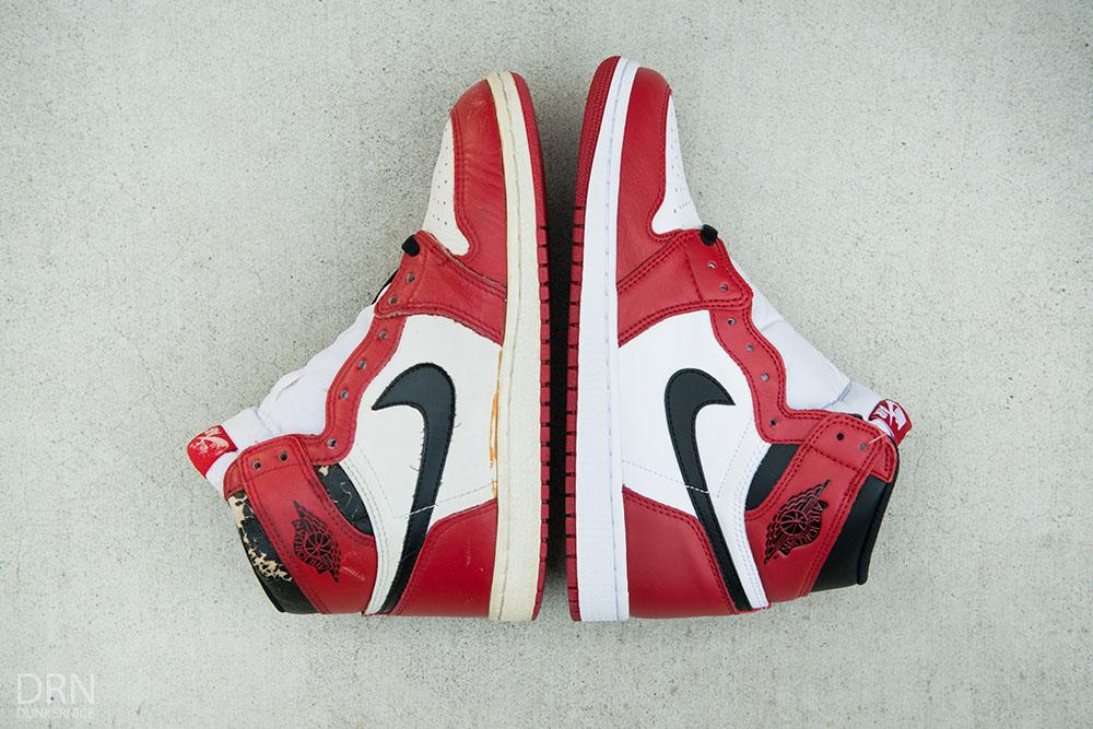 Air Jordan I 1 Chicago Bulls Comparison 1985 1994 2013 2015 Retro (26) 24c3446da