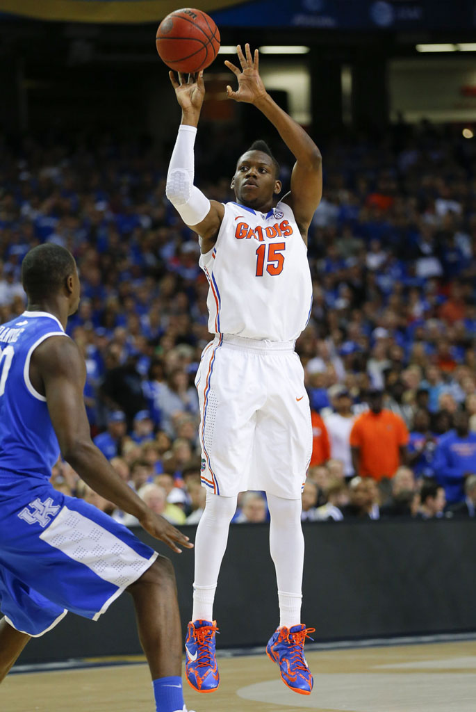 Will Yeguete wearing Nike LeBron 11 Florida Gators PE