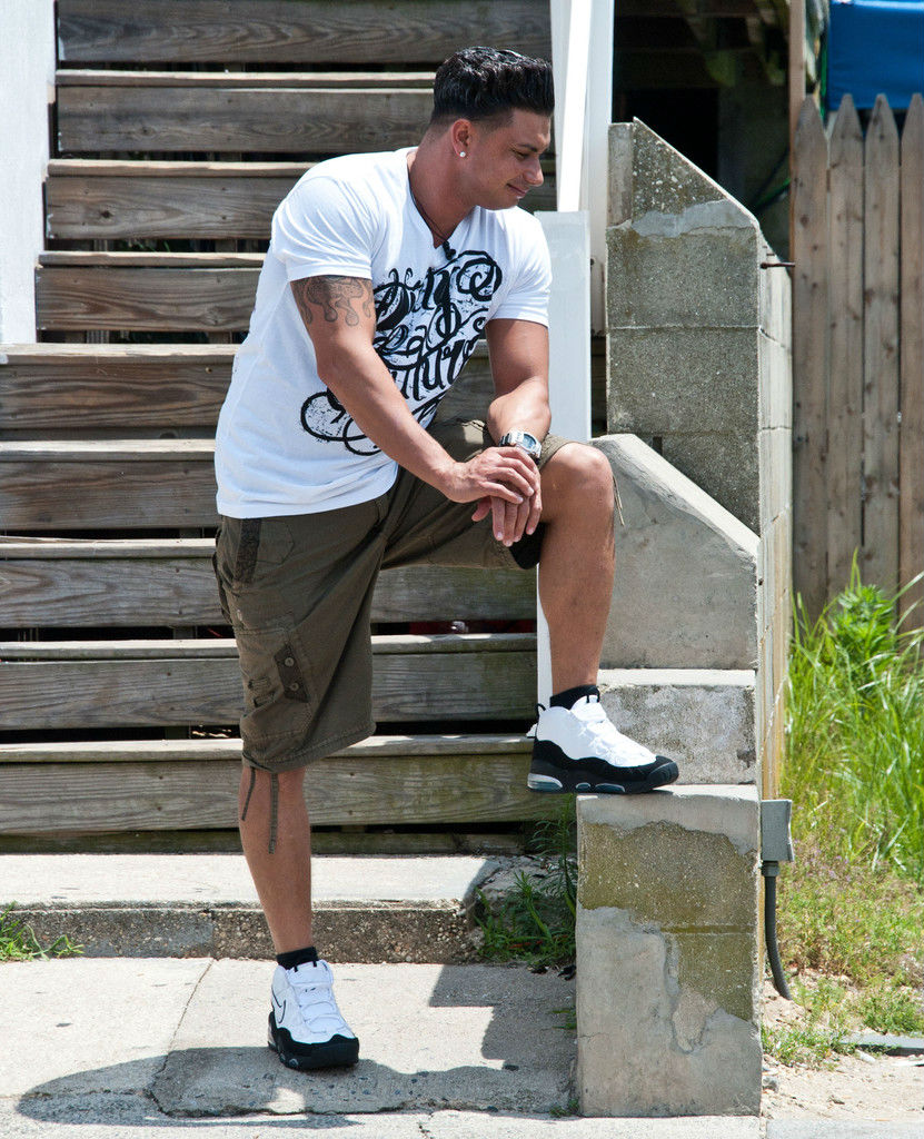 DJ Pauly D wearing Nike Air Max Uptempo