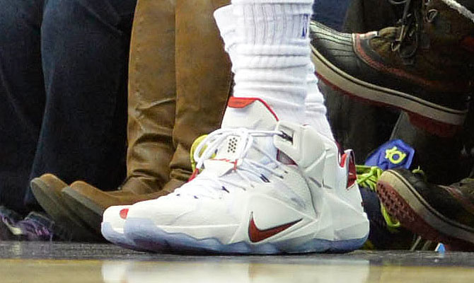 online store e7217 6cc4b LeBron James wearing Nike LeBron XII 12 White Red PE on December 21, 2014