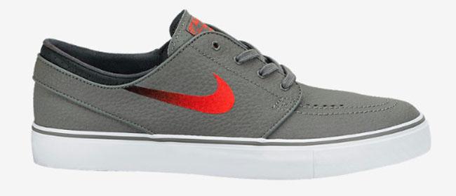 f7524a07ecd Nike Zoom Stefan Janoski Leather Medium Base Grey   Laser Crimson   Black