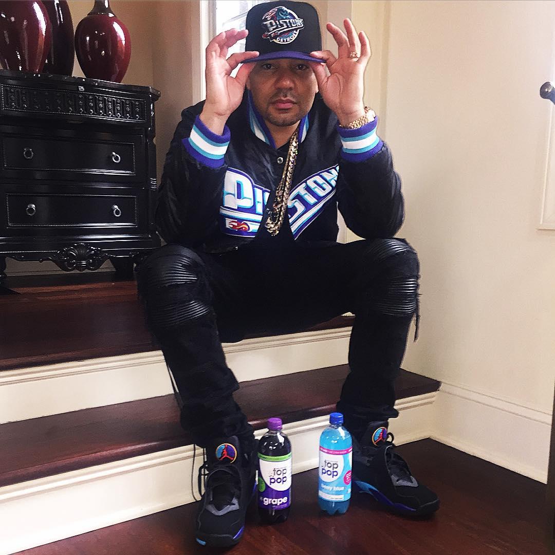 17df90a36f982a DJ Envy wearing the  Aqua  Air Jordan 8
