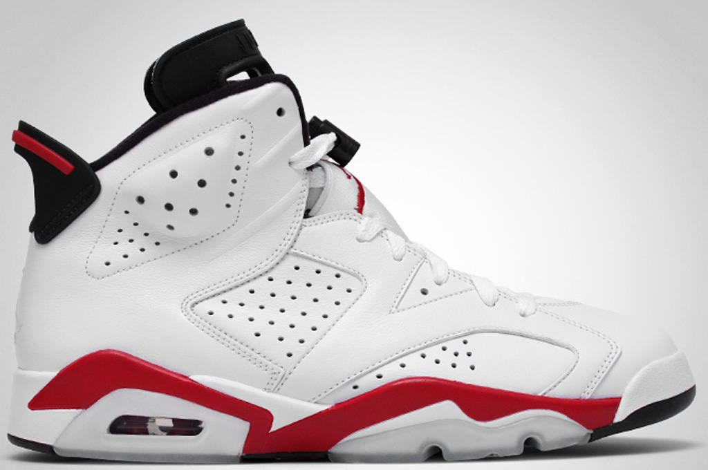 Mens Air Jordan 6 Retro Bulls White Black Red shoes