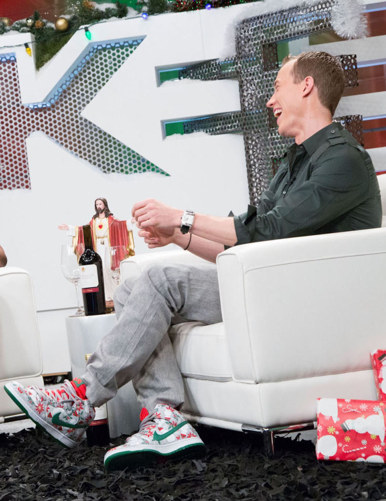 DJ Skee wearing CNCPTS Nike Dunk High Ugly Sweater