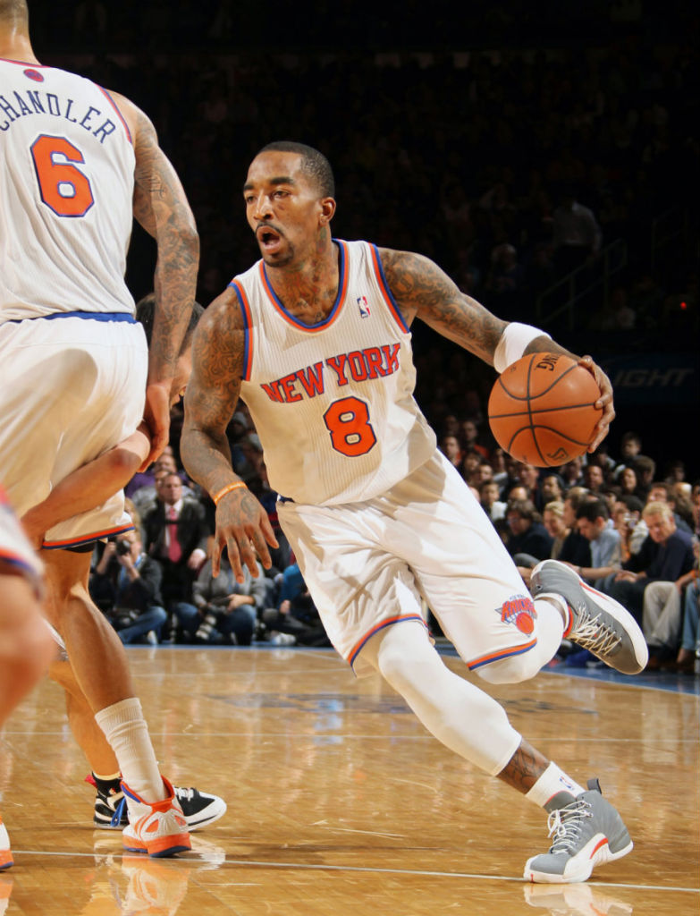 "Highlight // J.R. Smith's Reverse Alley Oop in the ""Cool Grey"" Air Jordan XII 12 (4)"