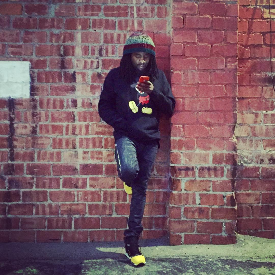 Wale wearing the 'Global Spin' New Balance 998