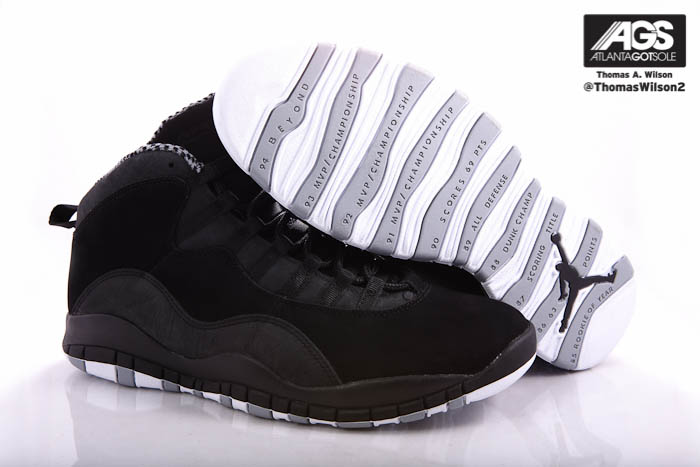 Air Jordan 10 X Retro Shoes Black White Stealth 310805-003 (4)