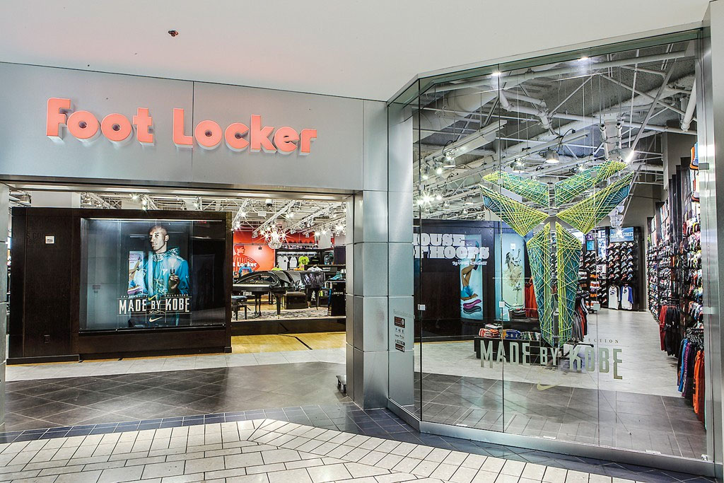 "2014: Foot Locker's Beverly Center store in Los Angeles showcases this year's ""Made by Kobe"" ads."