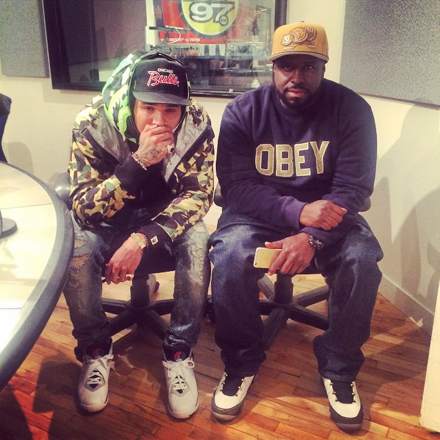 374b29139a86b2 DJ Funk Flex wearing Air Jordan IX 9 Doernbecher  Chris Brown Air Jordan  VIII 8
