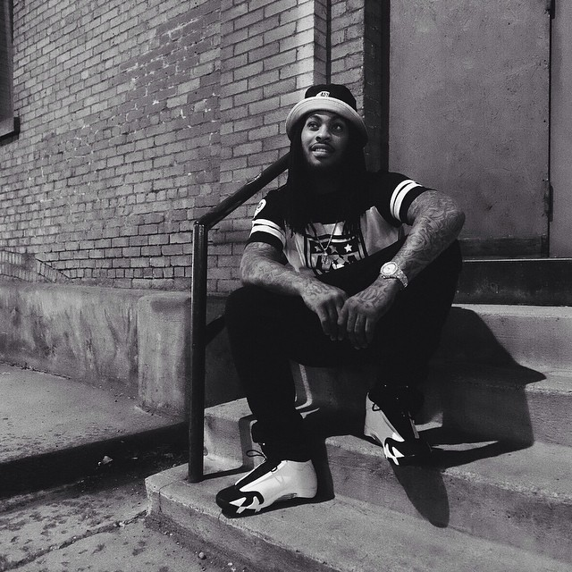 Waka Flocka Flame wearing Air Jordan XIV 14 Black Toe