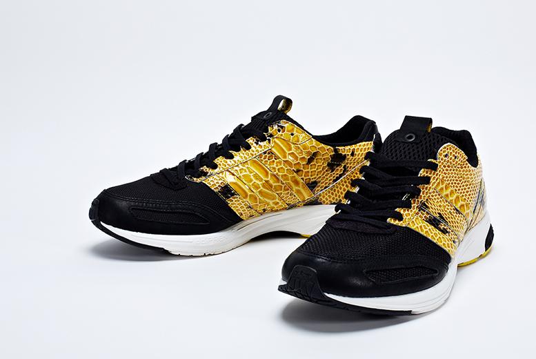 on sale e0a69 470dc adidas consortium adizero adios 2 yellow black snakeskin