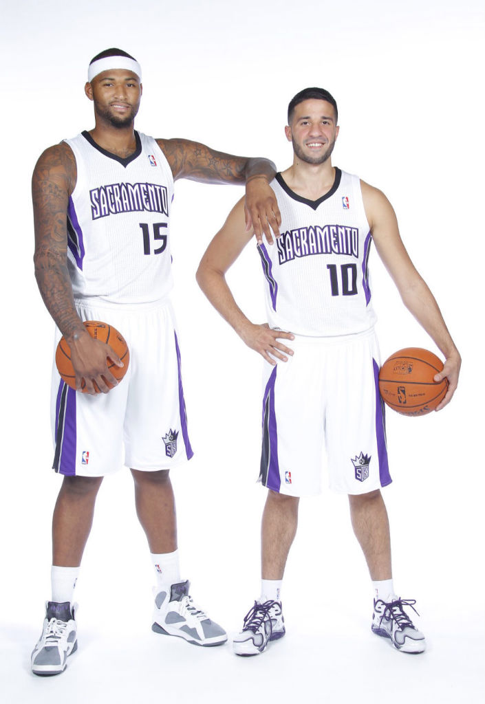 DeMarcus Cousins wearing Air Jordan VII 7 Retro Flint; Greivis Vasquez wearing Under Armour Anatomix Spawn Low