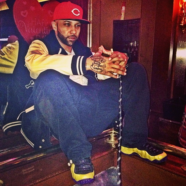 Joe Budden wearing Nike Air Foamposite One Custom