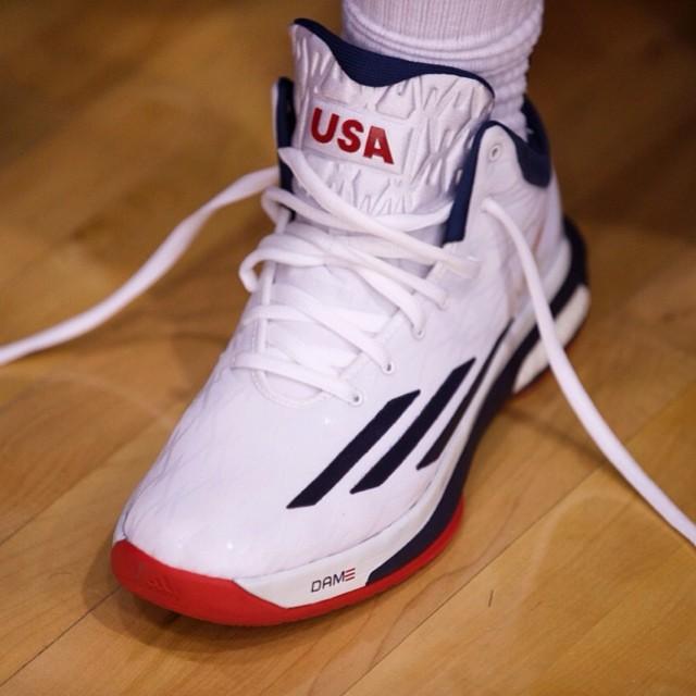 buy popular 0fbbd af0e1 Dame Lillard wearing adidas Crazylight Boost USA