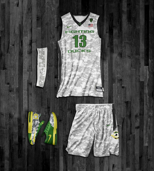 Oregon Ducks Nike Hyper Elite Uniforms for the 2013 Armed Forces Classic