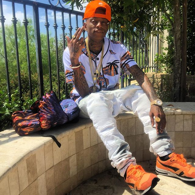 Soulja Boy wearing the 'Orange'  Puma Trinomic XT2 Mesh Evolution