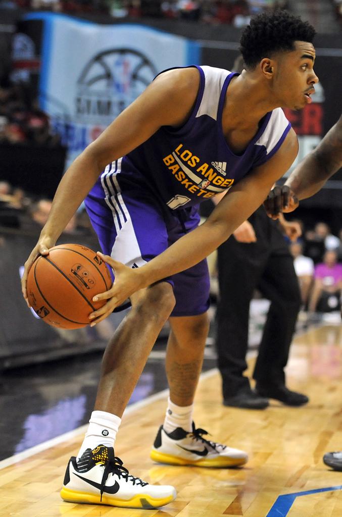 8eeda93eeec D Angelo Russell wearing a Nike Kobe 10  Del Sol  PE