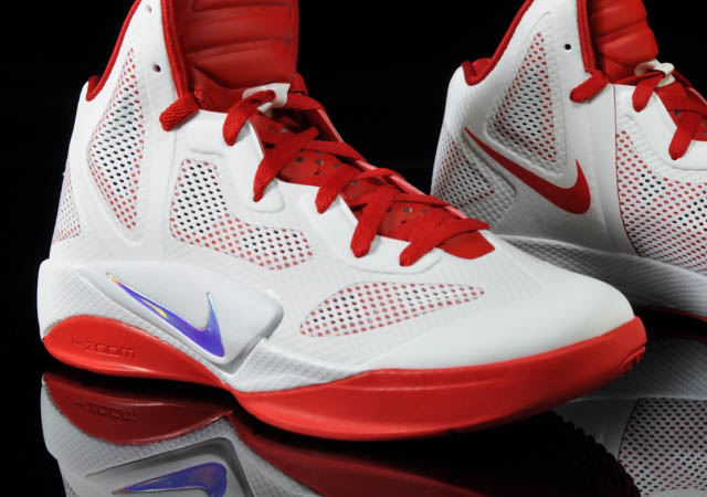 743618a7abc7 Nike Zoom Hyperfuse 2011 White Metallic Luster Sport Red 454136-101 Front  Close