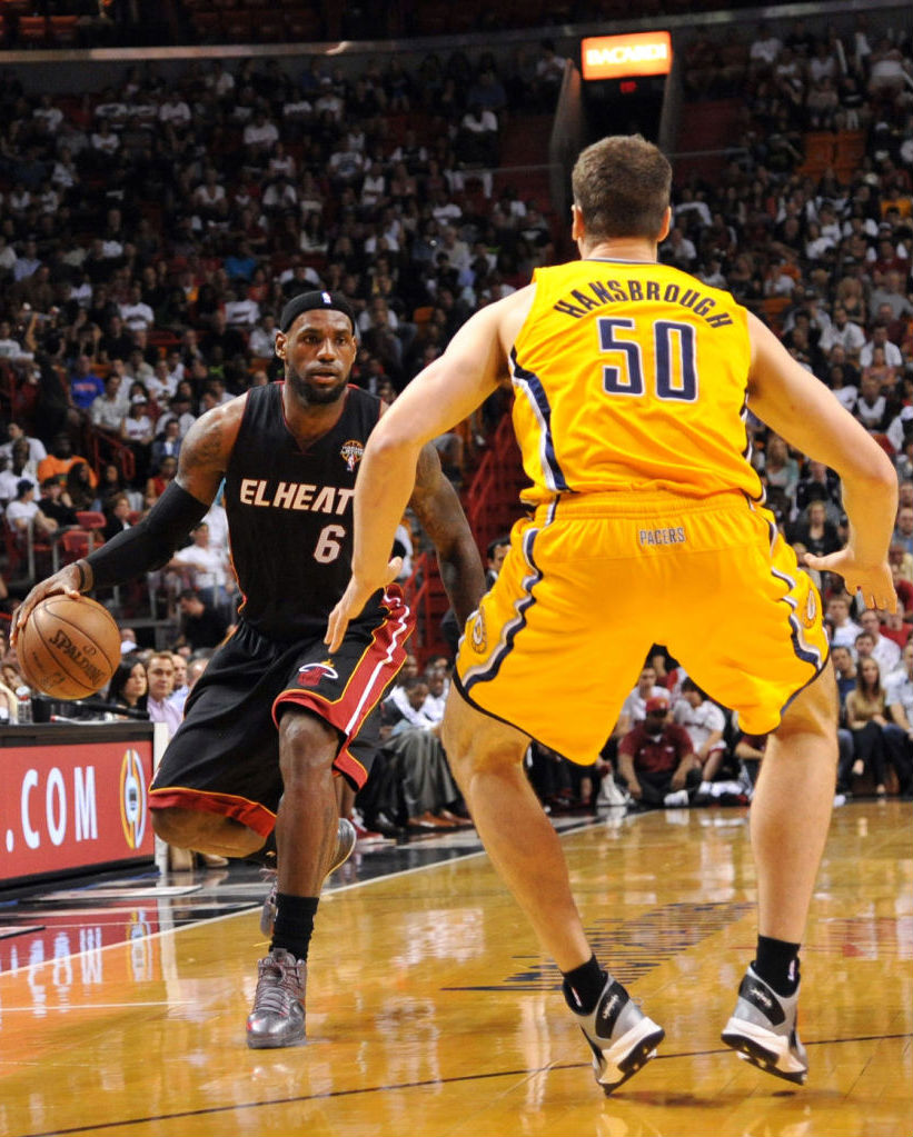 Tyler Hansbrough wearing Nike Zoom Soldier VI; LeBron James wearing Nike LeBron X PE