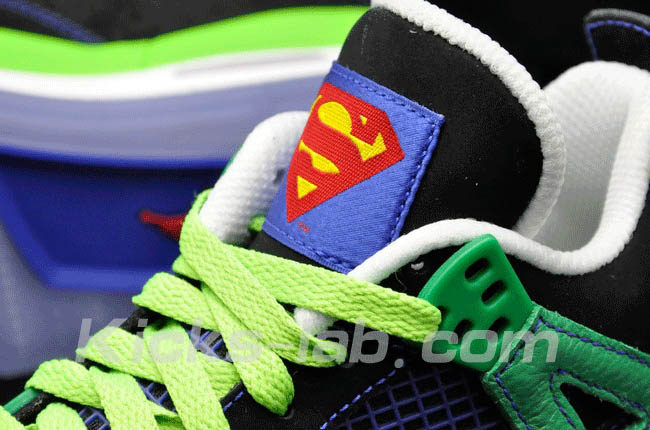 Air Jordan 4 IV Doernbecher Superman Black Old Royal Electric Green White 308497-015 K