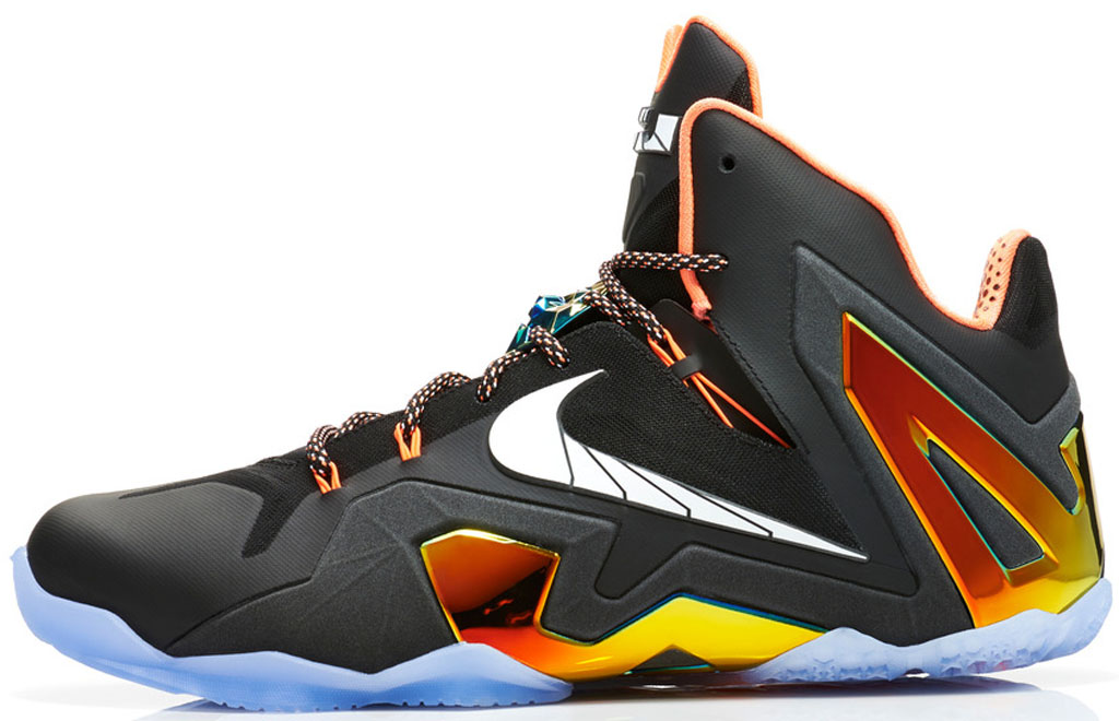 Nike LeBron 11 Elite 642846-002 Black/White-Metallic Gold-Bright Mango