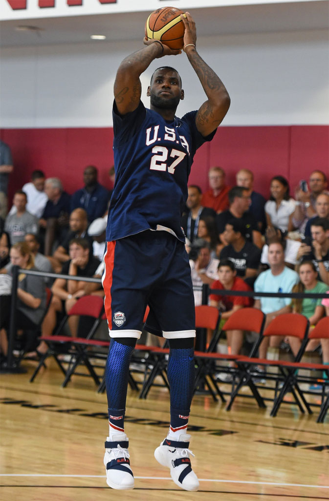 ef5c6fb2d6f4 SoleWatch  LeBron James Made His USA Minicamp Debut in the Soldier 9 ...