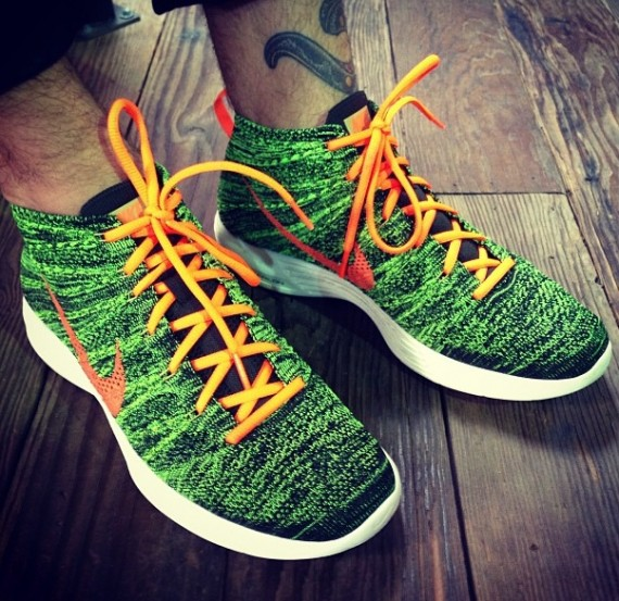 Stick with Sole Collector for further details on this Green Black-Orange  Flyknit Chukka by Nike. 115f31251