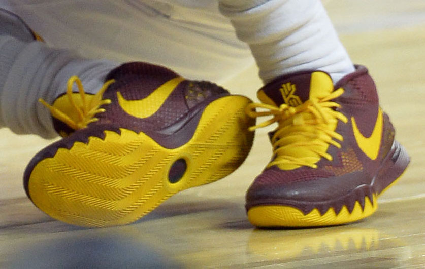 low priced 71fdc 3d998 Kyrie Irving wearing Nike Kyrie 1 Wine Gold PE (5)