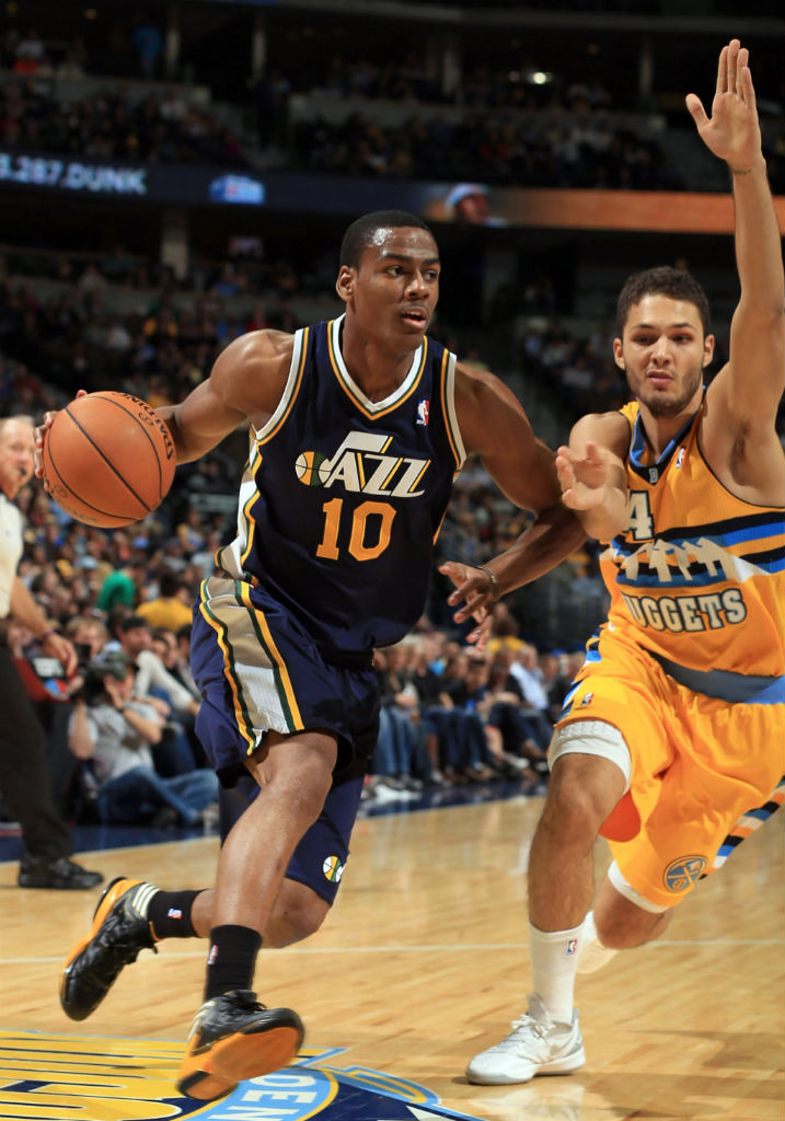 Alec Burks wearing adidas adizero Crazy Light 2