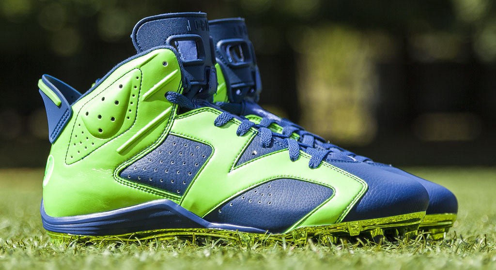 Earl Thomas' Air Jordan VI 6 Seahawks PE Cleats (1)