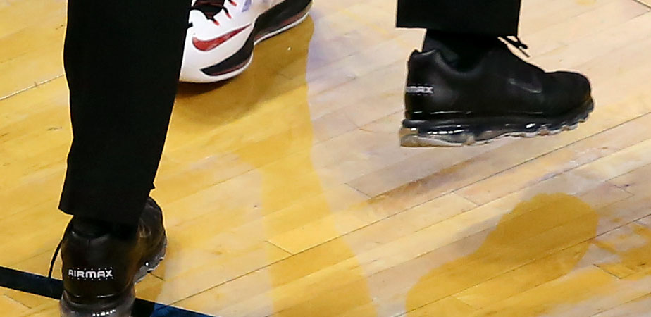 NBA Referee Marc Davis wearing Blacked Out Nike Air Max 2009 Shoes