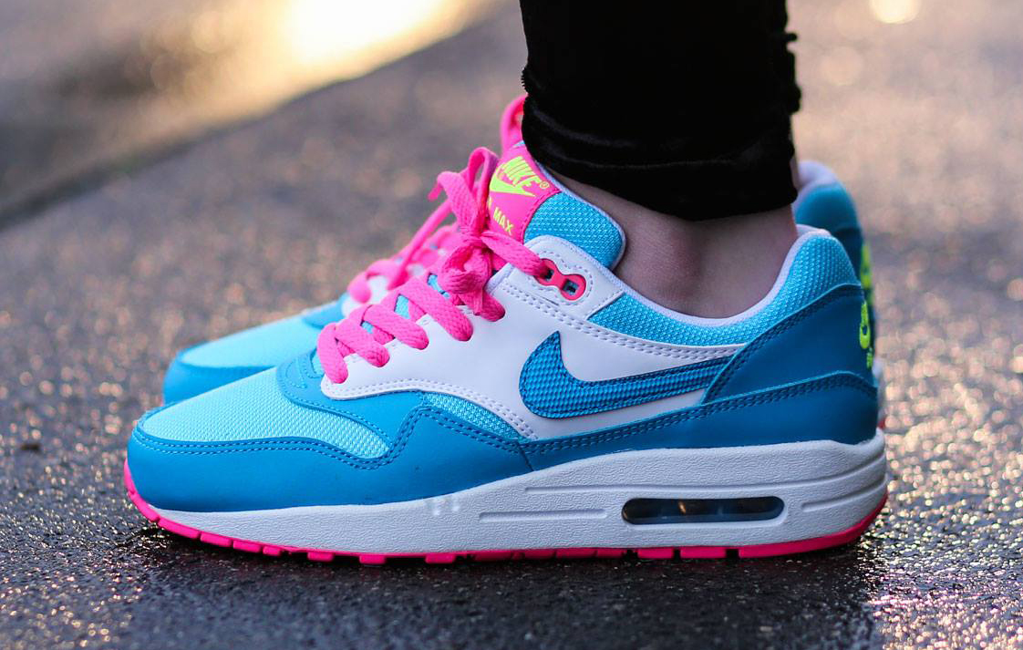 reputable site fc4b1 0f095 Discount Price Nike Airmax 1 Essentials Womens Light Magento Grey Deep  Royal Blue Hyper Pink Huge; Air Max 1 Pink Blue