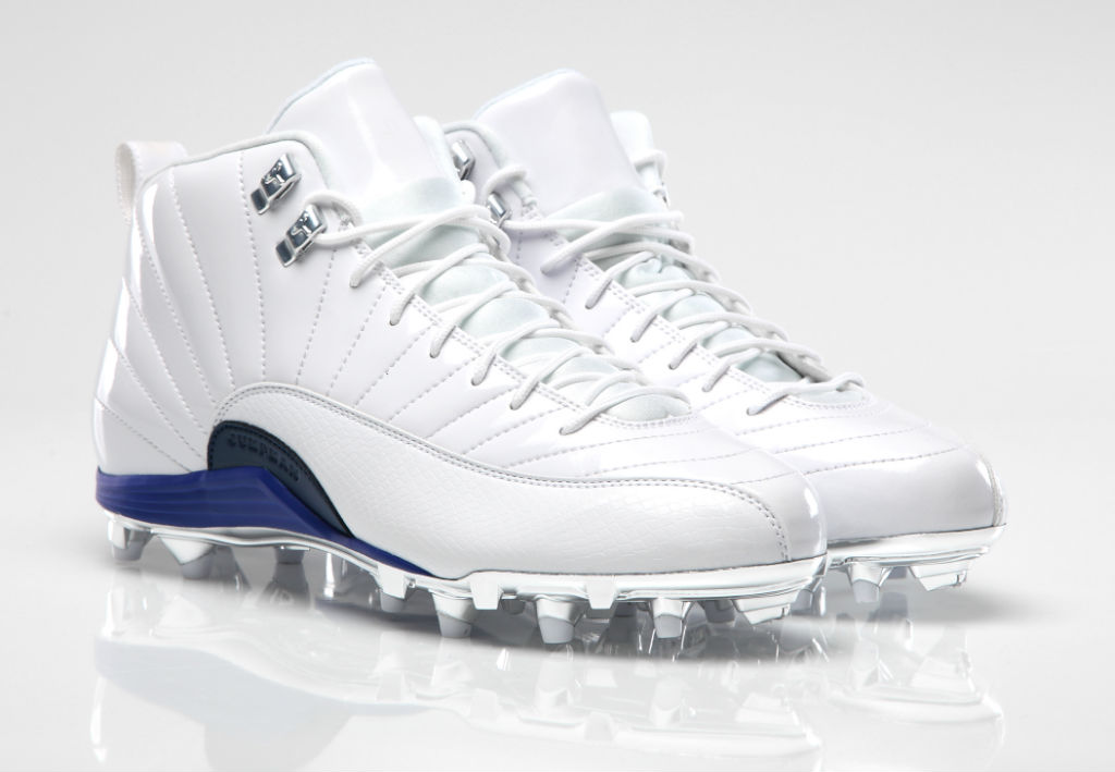 Air Jordan 12 XII PE Cleats Dez Bryant White/White-Blue