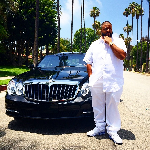 DJ Khaled wearing Air Jordan VI 6 Sport Blue