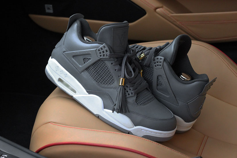 Air Jordan IV 4 Louis Vuitton Don Anthracite by Dank Customs (3)