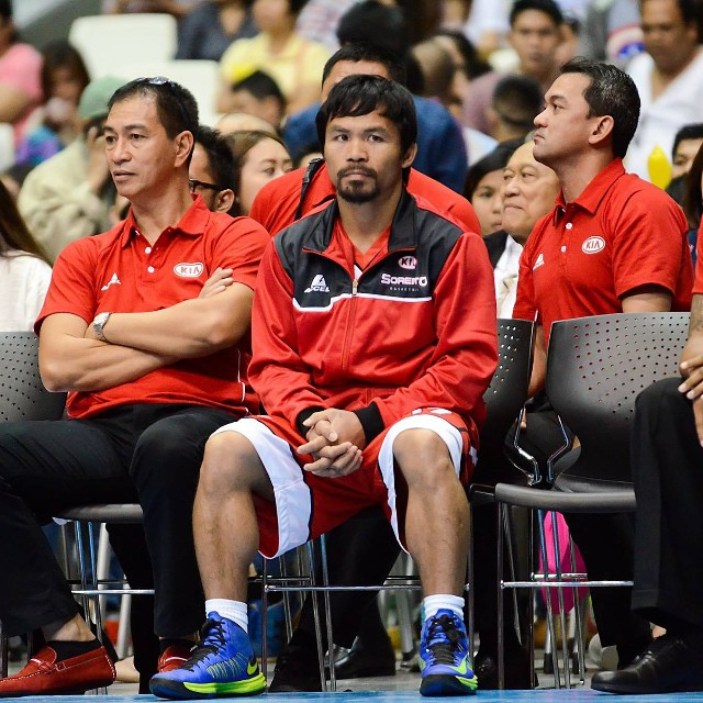 Manny Pacquiao wearing the Nike Lunar Hyperdunk 2012 Neon Pack