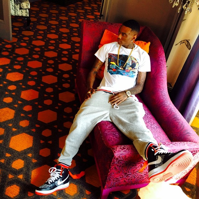 Soulja Boy wearing Nike Air Force 1 High