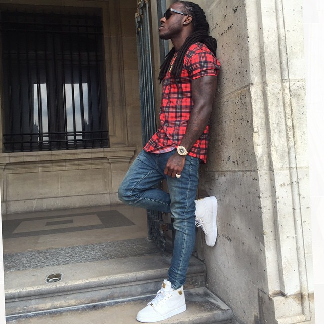 Ace Hood wearing the Air Jordan I 1 Pinnacle White