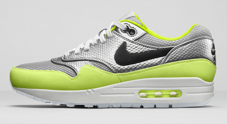 Nike Air Max 1 FB Mercurial Pack Metallic Silver and Volt