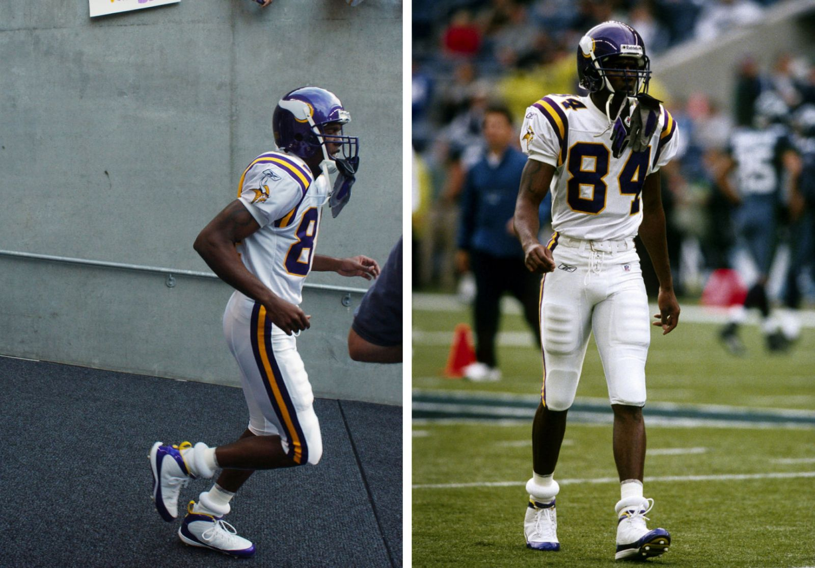 Randy Moss wearing Air Jordan IX 9 Minnesota Vikings PE (4)