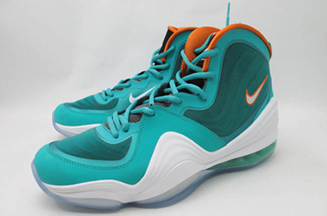 huge discount c5d88 ac502 Nike Air Penny V Miami Dolphins New Green White Safety Orange 537331-300 (1