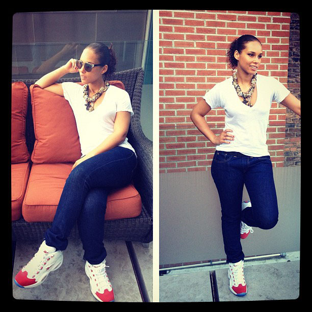 Alicia Keys wearing the Reebok Question White Red