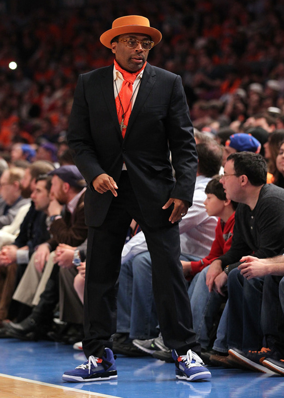 Spike Lee wearing Blue Knicks Jordan Spiz'ike Against Celtics