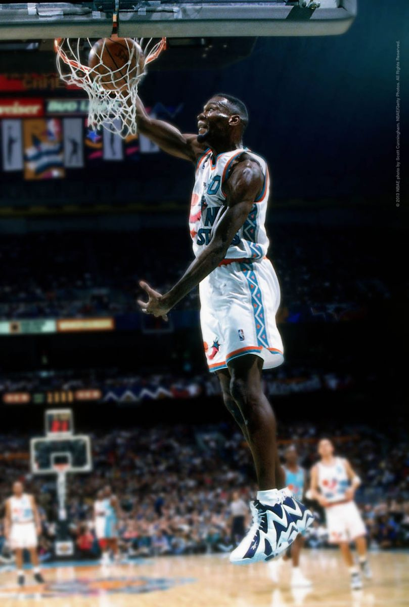 1c5433ade17c ... of basketball shoes ever on an NBA court) to check out Shawn Kemp  wearing the original Navy White Kamikaze II s