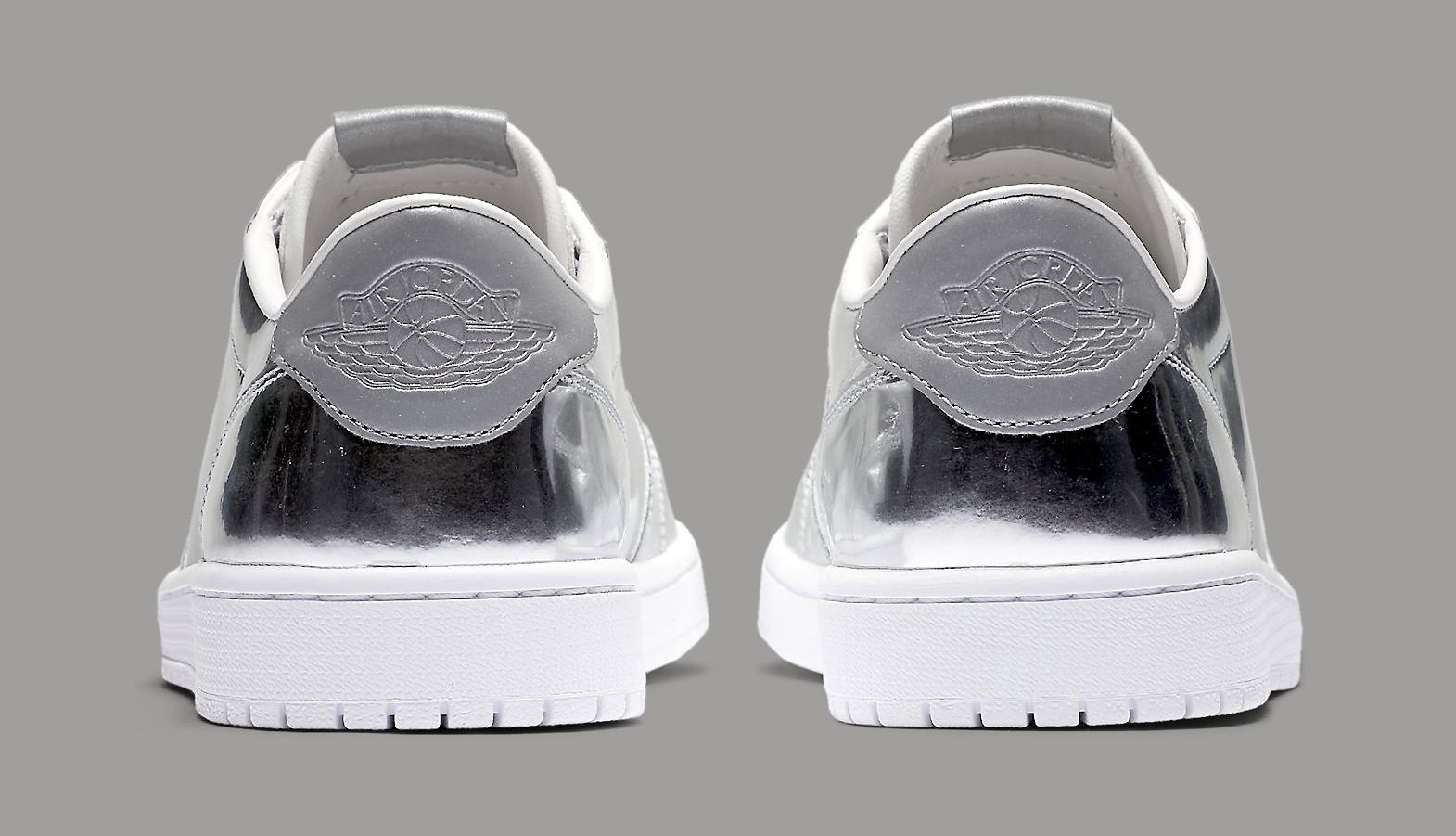 1a509e68347499 Image via Nike Silver Air Jordan 1 Low 852549-003 Heel