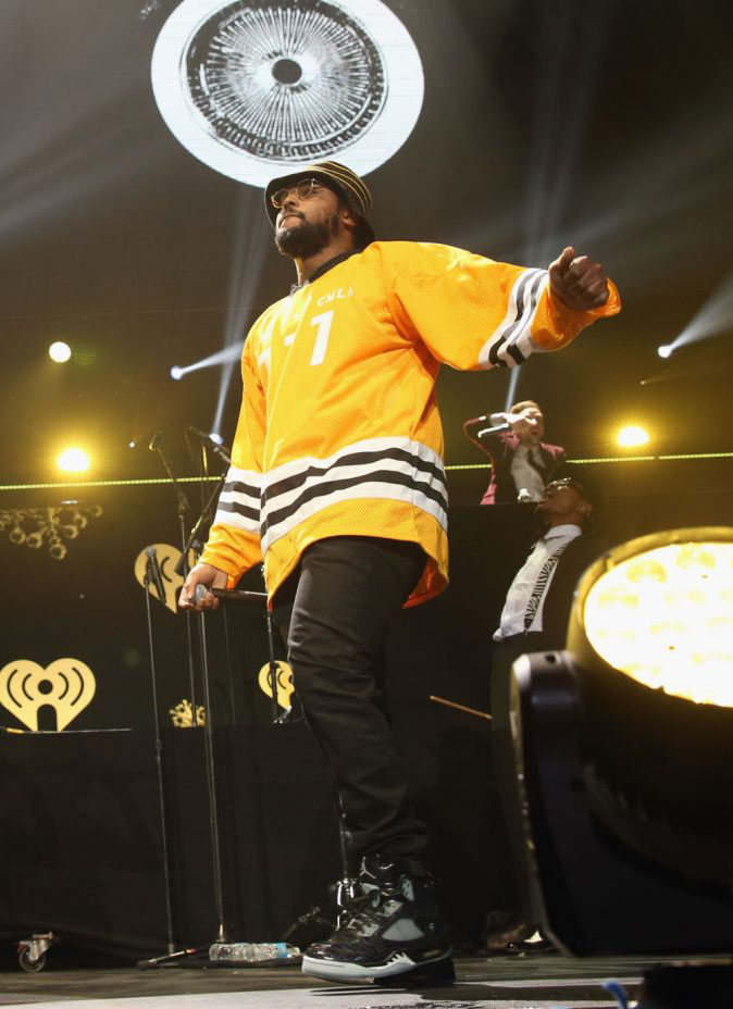Schoolboy Q wearing Air Jordan 5 Retro Doernbecher