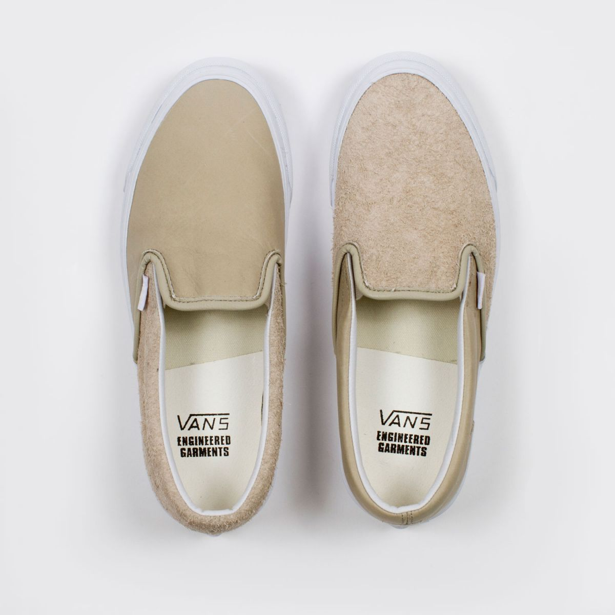 engineered garments x vault by vans og classic slip-on lx lthr tan