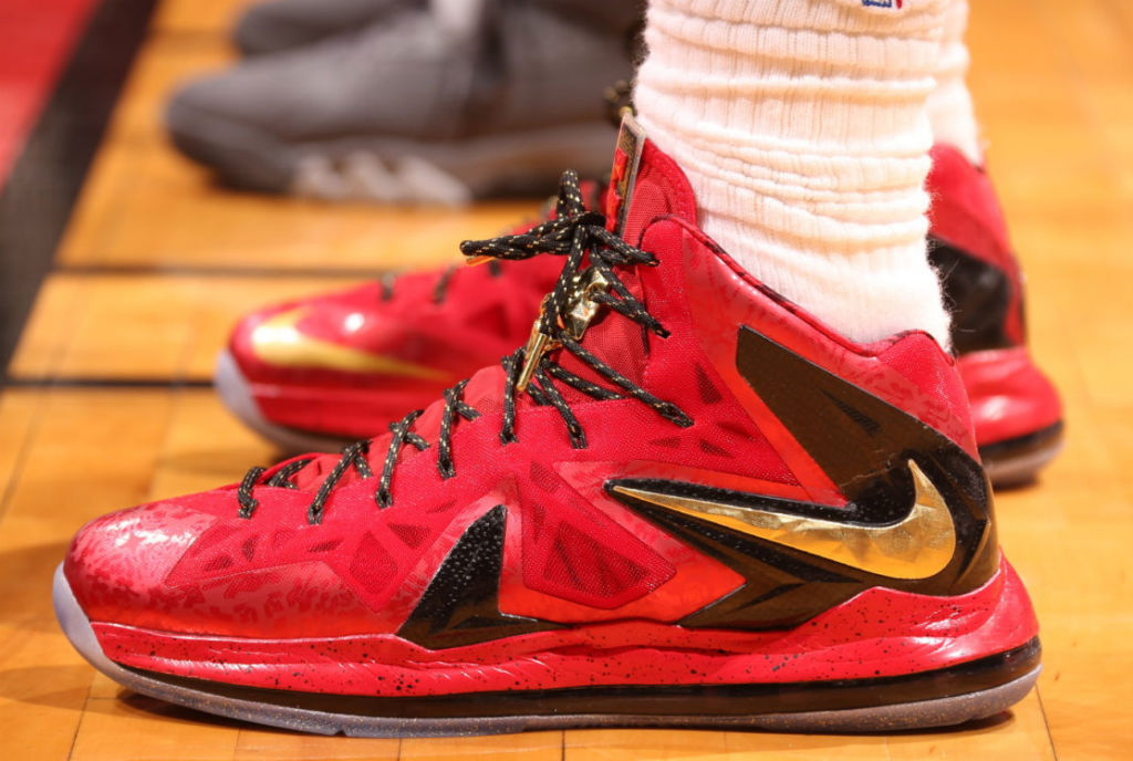timeless design d0a1d 18357 LeBron James Wears Red Gold Nike LeBron X PS Elite For Game 1 (3