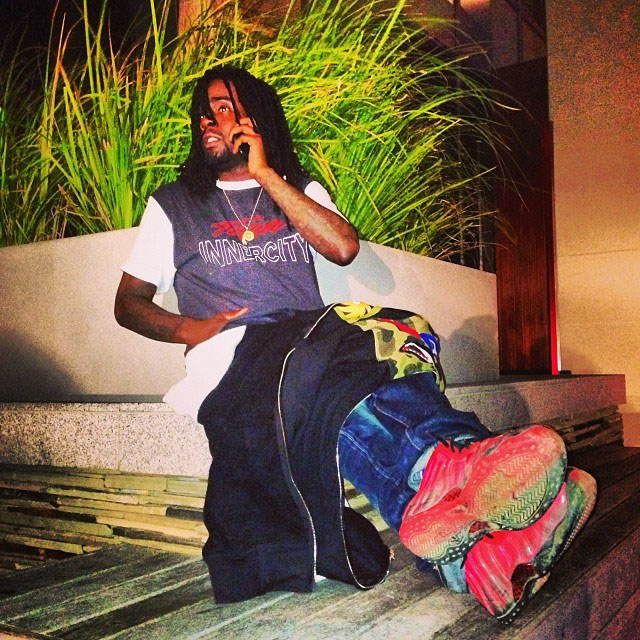Wale wearing Nike Air Foamposite One Doernbecher