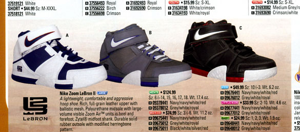 Nike Zoom LeBron 2 in Eastbay Catalog 2005